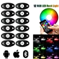 LED Rock Light Kits with 6/8 Pods RGB Lights for for Trucks, Jeeps, SUV, ATV - Offroad, Crawling, Climbing Waterproof, SoundSync, Bluetooth App Controls Lamp Waterproof