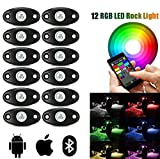 LED Rock Light Kits with 12 Pods RGB Lights for Trucks, SUV, ATV - Offroad, Crawling, Climbing Waterproof, SoundSync, Bluetooth App Controls Lamp Waterproof (12 pods)