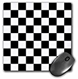 3dRose 8 x 8 x 0.25 Inches Black and White Pattern Checkered Checked Squares Chess Checkerboard or Racing Car Race Flag Mouse Pad (mp_154527_1)