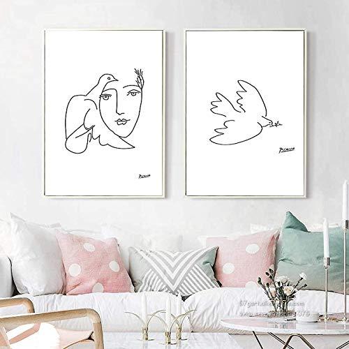 Crazystore Obra de Arte 2x60x80cm sin Marco Picasso Paloma de la Paz Línea Abstracta en Blanco y Negro Impresión de Arte Póster Imagen Pared Sala de Estar Decoración del hogar
