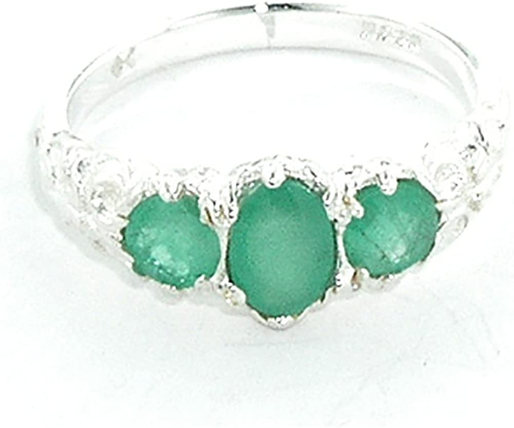 925 Sterling Silver Low price Real Genuine Ring 1 year warranty Emerald Band Womens
