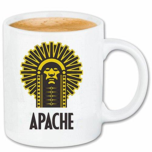 Taza párrafo café jefe indio Apache Indian CARA INDIA tribu india joyería india peluca india cerámica Altura 9.5 cm de diámetro de 8 cm de Blanco