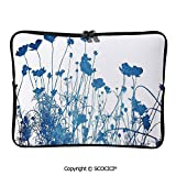 YOLIYANA Laptop Bag Silhouette of Summer Wildflowers Blooms Grass Garden Foliage Stylized Laptop Sleeve Bag Water-Resistant Protective Case Bag Compatible with Any Notebook 11.6 inch/12 inch