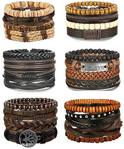 Adramata 24 Pcs Woven Leather Bracelet for Men Women Wrap Cuff Bracelets Adjustable