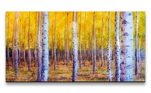Paul Sinus Art Wandbild 120x60cm Birkenwald Bäume Herbst Malerisch Schön Friedlich Birke