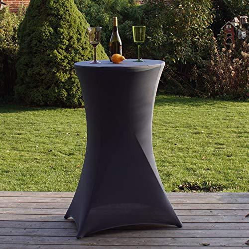 Partytisch mit Husse Bistrotisch Stehtisch Klapptisch Biertisch anthrazit grau Ø 60cm / Höhe ca.110 cm klappbar Baumarktplus wetterfest