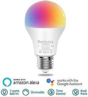 【Amazon Alexa認定 LED電球 】Bomcosy WiFiスマート電球 AlexaとGoogle Homeで使用 調光調色 1600万色自由操作できる また3000Kから6500Kまで自由に調整 部屋の間接照明 枕元のライト ベランダ お祭り クリスマス 誕生日パーティなどの飾りに適応、E26 7W 1個セット