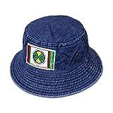 CROSS COLOURS LABEL LOGO DENIM BUCKET HAT | DARK BLUE クロスカラーズ バケットハット デニム ロゴ ヒップホップ インディゴ ブルー (L/XL)