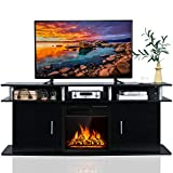 70 black media console - Tangkula Fireplace TV Stand, Living Room Media Console Table w/1500W Electric Fireplace for TVs up to 70 Inches, Modern TV Console w/ Fireplace, Remote Control & Adjustable Brightness (Black)