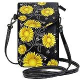 ZZKKO Mini bolso bandolera de piel con diseño de margaritas para mujer, estilo casual, para viajes, senderismo, camping