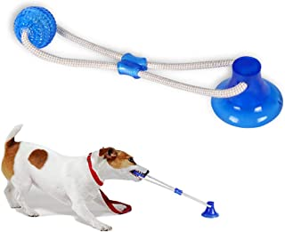 Abbyhouse Pet Chew Ball Toy Dog Ropes Toy, Multifunction Interactive Ropes Toys with Suction Cup, Teeth Cleaning Ball (Blue)