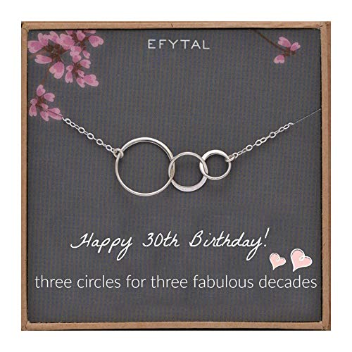EFYTAL 30th Birthday gifts for women Sterling Silver Three Circle Necklace For Her 3 Decade Jewelry 30 Years Old