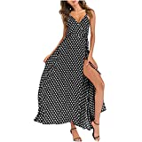 TUDUZ Robes Summer Bohème Spaghetti Strap Bouton Bas Swing Midi Dress avec Robe de Cocktail Bohème Elégante (Noir,EU-44/3XL)