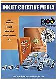 PPD A4 Carta Vinile Autoadesiva Opaca Per Stampanti A Getto D'Inchiostro Inkjet - Sticker Bianco - x 10 Fogli - PPD-38-10