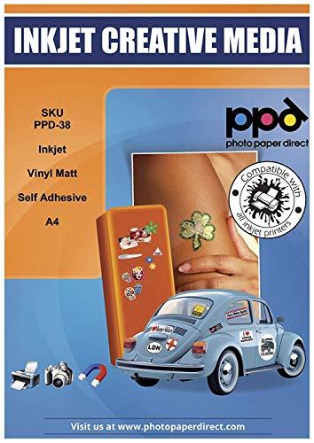 PPD A4 x 10 Blatt Inkjet PREMIUM Vinyl Aufkleberfolie Weiß Matt Selbstklebend - Speziell beschichtet für vollfarbige Drucke in Fotoqualität - Reißfest und Strapazierfähig - PPD-38-10