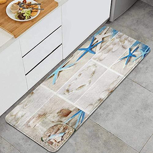 KASMILN Alfombra de Cocina,Diseño de Piedra del Amor de la Botella de los Deseos de la Concha Azul de la Estrella de mar,Alfombrilla de Cocina Antideslizante Gruesa(45*120cm