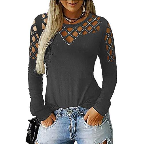 Memorose Donna Casual Pullover Girocollo Taglio Hollow Strass Manica Lunga Sciolto Fit Top T Shirt - Multicolore - XX-Large