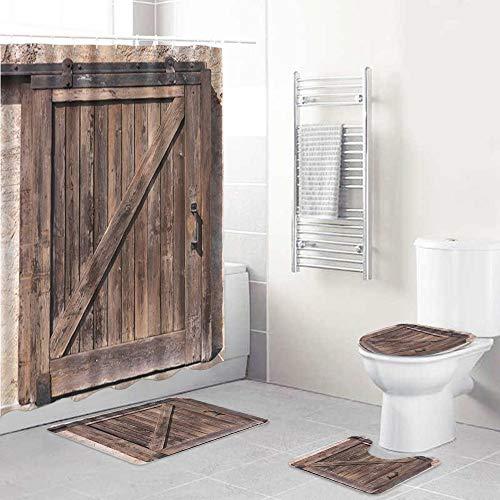 ALLMILL Juego de Cortinas de Ducha con Alfombra de baño Antideslizante,Vintage Antigua Puerta corrediza de Madera Puerta rústica Textura de Tablero marrón