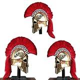 Náutico Replica Hub 300 espartanos Latón Armadura casco griego corintio medieval caballero casco rojo Plume latón acabado con soporte de madera
