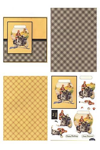 Dekorationspapier, Vintage-Design, Motiv Motorrad, 4 x A4 Bögen – 160 g/m²