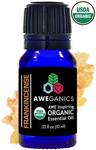 Aweganics Pure Frankincense Oil USDA Organic Essential Oils 100% Pure Natural Premium Therapeutic Grade, Best Aromatherapy Scented-Oils for Diffuser, Home, Office, Personal Use - 10 ML - MSRP $14.99