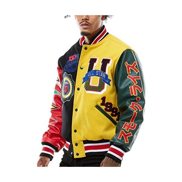 SMOKE RISE Unisex All Star Varsity Jacket Hipster Urban NYC Utility Outerwear, Fur Jacket and Wool Melton Jacket