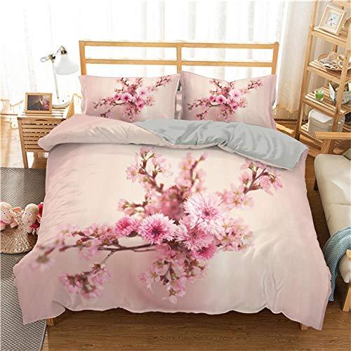 Double Bedding Duvet Set Pink Peach Blossom Bedding Set Duvet Cover Set with Zipper Lightweight Microfiber (79'x79')