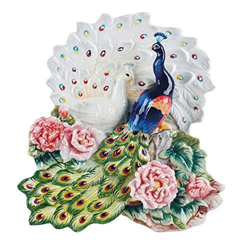 Ornament Nuove Ceramiche Cinesi in Stile Europeo, Piatto Tridimensionale per Decorare Il Pavone, Piatto da Appendere A Parete,Decorazioni Murali, Richiami...