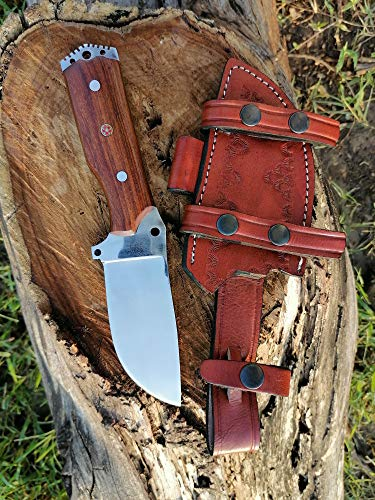Cutlery Era CK-309 Custom Handmade Stainless Steel Tracker Knife With Wood Handle Knife Fixed Blade - Hunting Knife Full Tang with 100% Pure Cowhide Leather Sheath