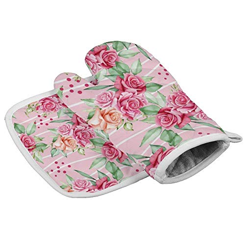 shotngwu Curve11 - Guantes de horno resistentes al calor, diseño de flores, color rosa