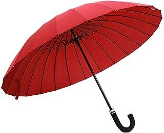 SHANGRUIYUAN-Umberllas Long Umbrella Lightweight Men's Women's 24 Bones 190 T Wind Resistant Water Repellant Stand Umbrella (Color : Red, Size : One Size)