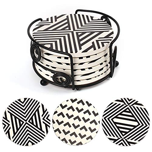 6 posavasos redondos de mármol absorbentes de cerámica con soporte de metal, parte trasera de corcho, diámetro 10,3, altura 0,7 cm
