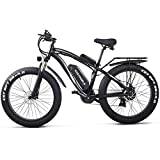 CEXTT Folding electric mountain bikes, all-around 1000W electric bicycle powerful motor 21 to the bicycle speed Snowy LCD speedometer lithium ion battery, the rear seat belt (black)
