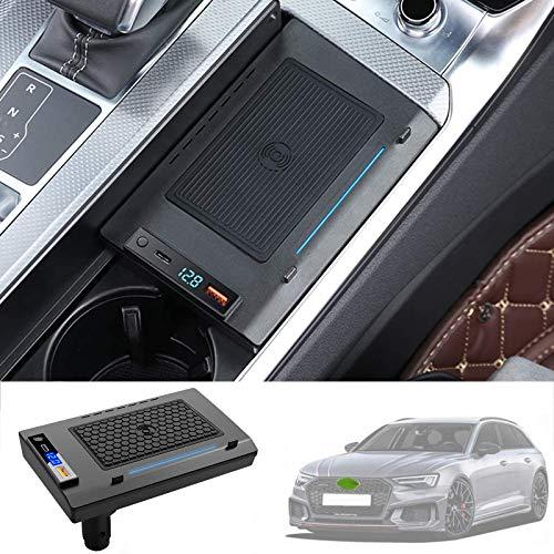 ZHANGYU Cargador de teléfono inalámbrico, para Audi A6 2019 2020 2021 Almohadilla de Carga rápida inalámbrica para automóvil, teléfono de Carga rápida de 15 W con Puerto USB QC3.0 y Puerto PD de 18 W