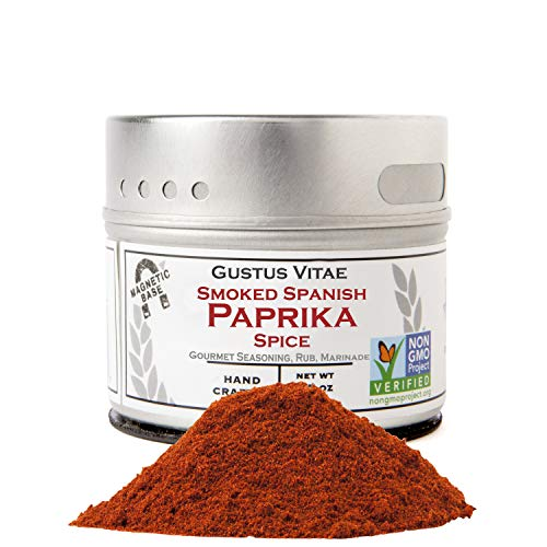 Smoked Spanish Paprika - Non GMO Project Verified - Packed In Magnetic Tins - Sustainable - Grown in USA - All Natural - Not Irradiated - Crafted By Gustus Vitae - 1.6 Oz Net Weight - 4 Oz Tin