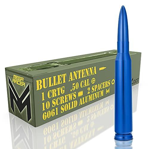 Mega Racer Blue 50 Cal Bullet Style Antenna for Trucks, Cars & SUVs - 5.5 Inch...
