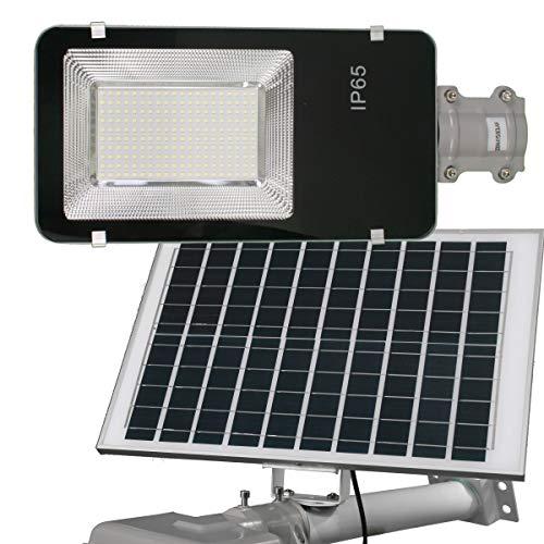 Jandei - Farola LED 200W Solar Exterior IP65 Panel Orientable 25W 200 LEDS 3000 Lúmenes 6000K Blanco Frío Batería Ion-Litio