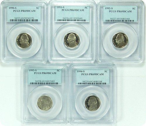0 S Jefferson 1990-94 Jefferson Date Run of 5 Nickel DCAM PCGS...