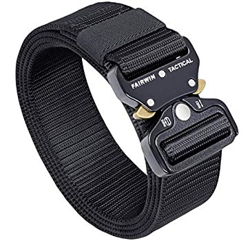 Fairwin Tactical Belt Military Style Webbing Riggers Web Belt with Heavy-Duty Quick-Release Metal Buckle  S 30 -36  Black