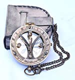 RIRHTAJUS Sundial Compass with Leather Case - Sun Clock – Steam Punk Accessory – Nautical Gift – Wedding Gifts for Him – Sundial Watch (Flap Leather CASE)