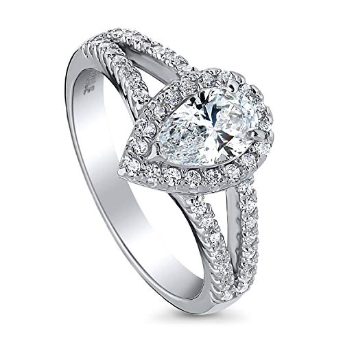 BERRICLE Rhodium Plated Sterling Silver Halo Promise Engagement Split Shank Ring Made with Swarovski Zirconia Pear Cut 1.1 CTW Size 7