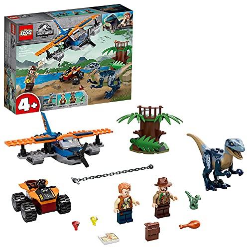 LEGO 75942 Jurassic World Velociraptor: Misión de Rescate en Biplano, Juguete de Construcción de Dinosaurios para Niños 4+ años