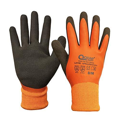 Thermo-Sicherheits-Arbeitshandschuh, kältebeständig, Fleece-Futter, vollständig Latex-Gummi beschichtet für Wasserdichte, sandig-weiche / rutschfeste Handfläche für Griffigkeit (8/M)