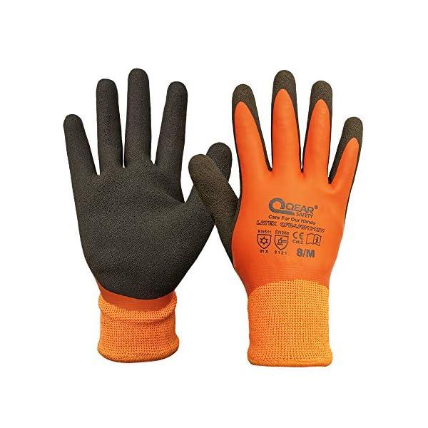 Guante de trabajo térmico con recubrimiento de látex, resistente al frío e impermeable, palma rugosa para un mejor agarre, Small, naranja, 192