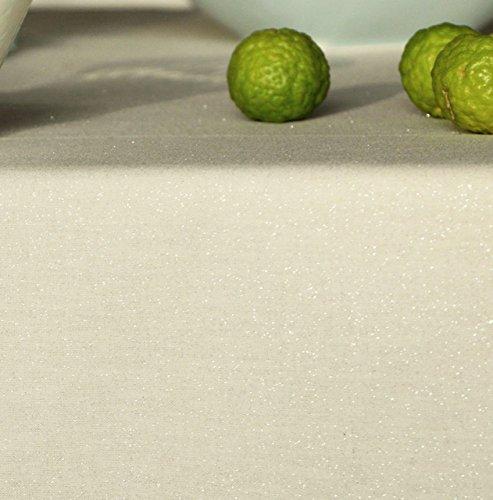 Nappe Ovale anti-tache imperméable 160x200cm Paillette Argent par Fleur de Soleil - coton enduit - sans solvant - sans phtalate - 100% fabrication française