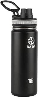 Takeya 50001, Black Originals Vacuum-Insulated Stainless-Steel Water Bottle, 18oz, 18 oz