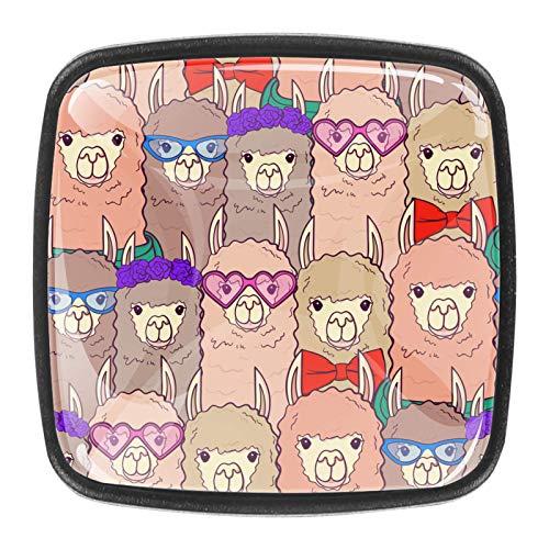 4 tiradores redondos de cristal transparente para cajones y armarios con tornillos para cocina, aparador, armario, baño, armario, alpaca rosa