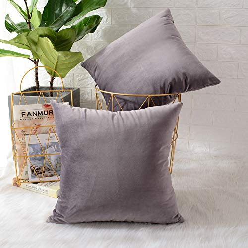 MERNETTE Pack of 2, Velvet Soft Decorative Square Throw Pillow Cover Cushion Covers Pillow case, Home Decor Decorations For Sofa Couch Bed Chair 18x18 Inch/45x45 cm (Grey Light Purple)