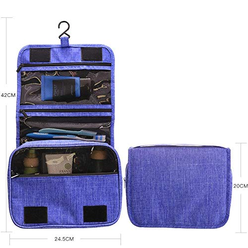Portable Trousse De Toilette Suspendre Pliable Cosmétique Sac Rangement De Voyage Hommes Et Femmes Zipper Pochette Imperméable - Bleu 24 * 19 * 9cm