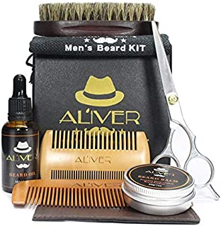 Whiteswanau Beard Care Kit Beard Comb Pig Bristle Brush Styling Scissors Beard Cream Oil 6-Piece Set Safe Non-Toxic